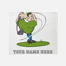 Custom Cartoon Golfer Throw Blanket