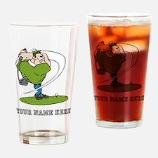 Custom Cartoon Golfer Drinking Glass