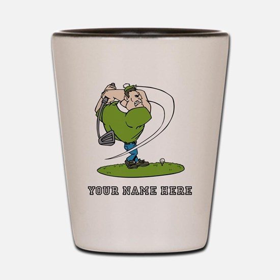 Custom Cartoon Golfer Shot Glass