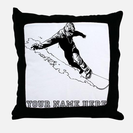Custom Downhill Snowboarder Throw Pillow