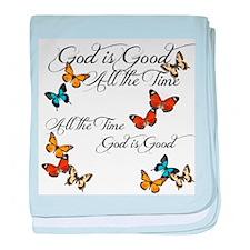 God is Good- Butterflies baby blanket