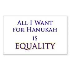 All I Want for Hanukah is Equ Rectangle Decal