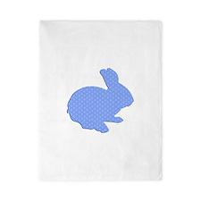Blue Polka Dot Silhouette Easter Bunny Twin Duvet