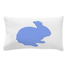 Blue Polka Dot Silhouette Easter Bunny Pillow Case
