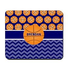 Basketball Blue Chevron Personalized Mousepad