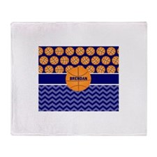 Basketball Blue Chevron Personalized Throw Blanket