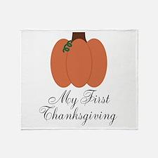 My First Thanksgiving Pumpkin Throw Blanket