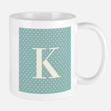 K Initial on Blue Mugs