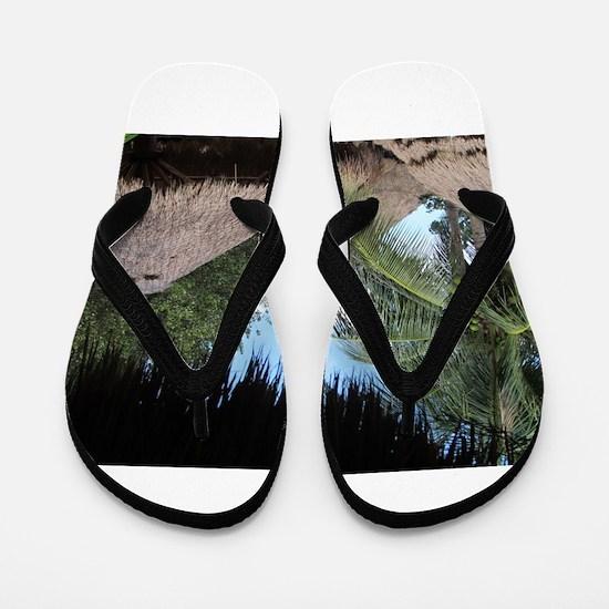 Tropical Beach Scene Flip Flops