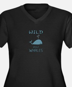 Wild About W Women's Plus Size V-Neck Dark T-Shirt