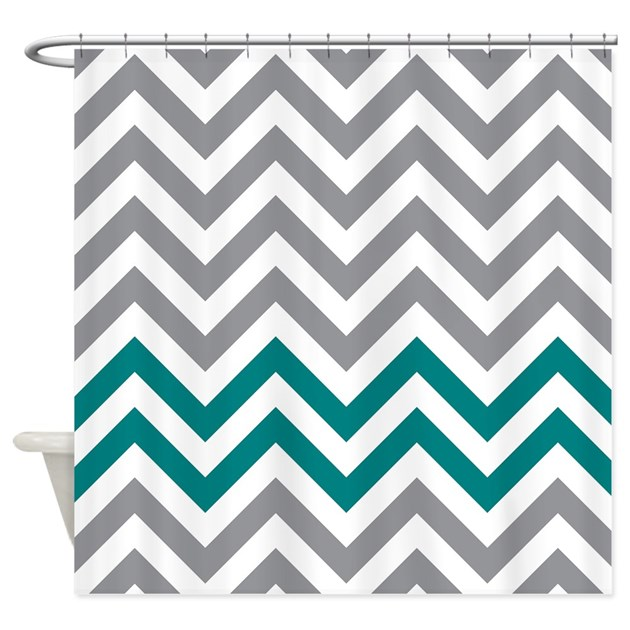 GrayWhite And Teal Chevrons Shower Curtain By Erics Designz