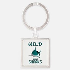 Wild About Sharks Square Keychain