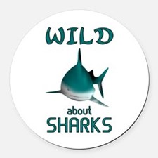 Wild About Sharks Round Car Magnet