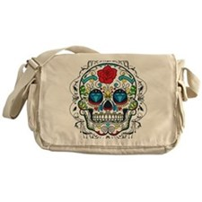 Colorful Retro Sugar Skull Red Rose Messenger Bag