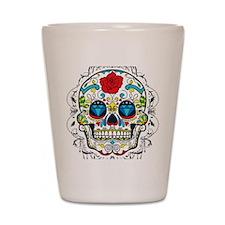 Colorful Retro Sugar Skull Red Rose Shot Glass