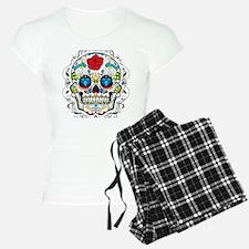 Colorful Retro Sugar Skull  Pajamas
