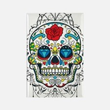 Colorful Retro Sugar Skull Red Ro Rectangle Magnet