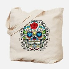 Colorful Retro Sugar Skull Red Rose Tote Bag