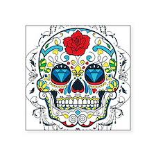 """Colorful Retro Sugar Skull  Square Sticker 3"""" x 3"""""""
