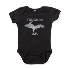 Toughen U.P. In Chrome Diamond Plate Baby Bodysuit