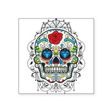 Colorful Retro Floral Sugar Skull Red Rose Sticker