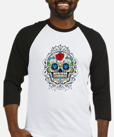Colorful Retro Floral Sugar Skull Red Rose Basebal