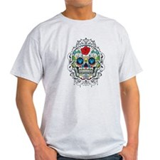 Colorful Retro Floral Sugar Skull Red Rose T-Shirt