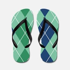 Argyle Blue And Green Napkin Flip Flops