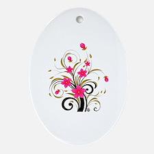 Pretty Tribal Floral Oval Ornament