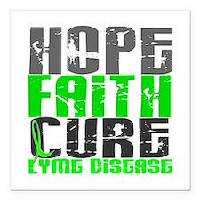 """Lyme Disease HopeFaithCu Square Car Magnet 3"""" x 3"""""""