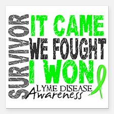 """Lyme Disease Survivor 2 Square Car Magnet 3"""" x 3"""""""