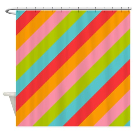 Bright Colored Stripes Shower Curtain By Crazyshowercurtains