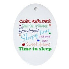 Close Your Eyes Ornament (Oval)