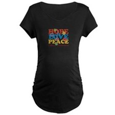 Hope, Love, Peace Autism Awareness Maternity T-Shi