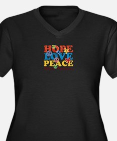 Hope, Love, Peace Autism Awareness Plus Size T-Shi