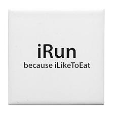 iRun because iLikeToEat Tile Coaster