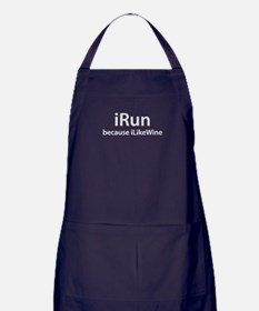 iRun because iLikeWine Apron (dark)