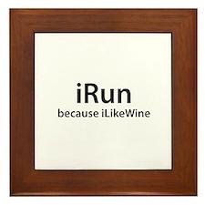 iRun because iLikeWine Framed Tile