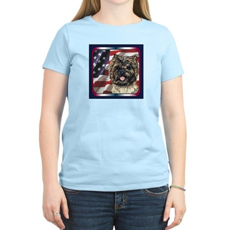 Cairn Terrier USA Flag Women's Light T-Shirt