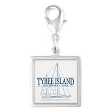 Tybee Island - Silver Square Charm