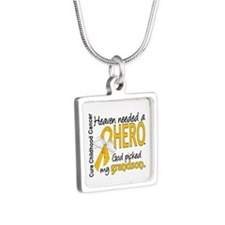 Childhood Cancer HeavenNee Silver Square Necklace