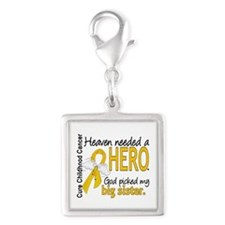 Childhood Cancer HeavenNeeded Silver Square Charm