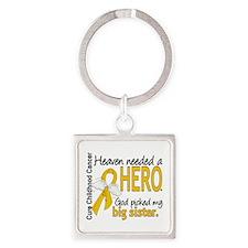 Childhood Cancer HeavenNeededHero1 Square Keychain