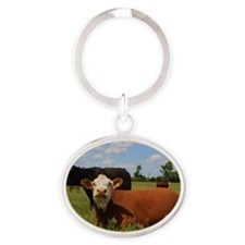 Kansas Country Hereford Cows with Bl Oval Keychain
