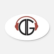 DGR- Headphones Logo Oval Car Magnet