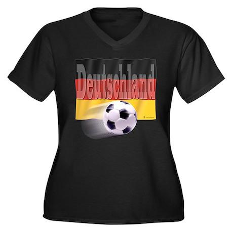 Soccer Flag Deutschland Women's Plus Size V-Neck D