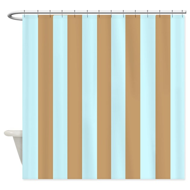 Aqua Beige Stripes Shower Curtain By HomeDecor2