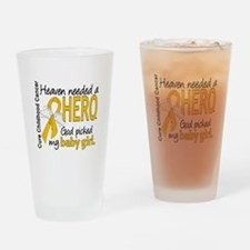 Childhood Cancer HeavenNeededHero1 Drinking Glass