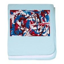 Red, White and Blue Abstract baby blanket