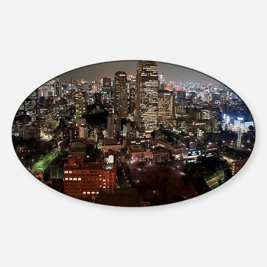 tokyo skyscrapers Sticker (Oval)